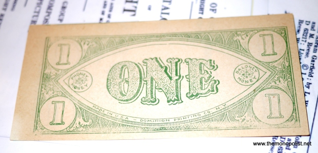 Original 1930s play money.