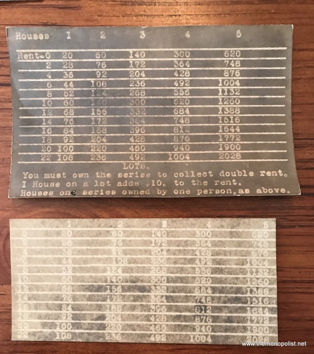 The two rate cards appear to be identical with the hand-written version with the Sherk game (first made in 1916). These are seemingly photo reproductions that are like a negative, printed on photo postcard paper of the type in use between 1904 and the 1920s. The effect is rather like a photostat.